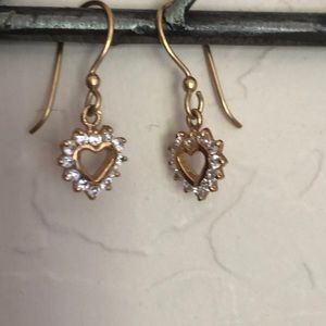 Gold tone Heart  framed with crystals earrings